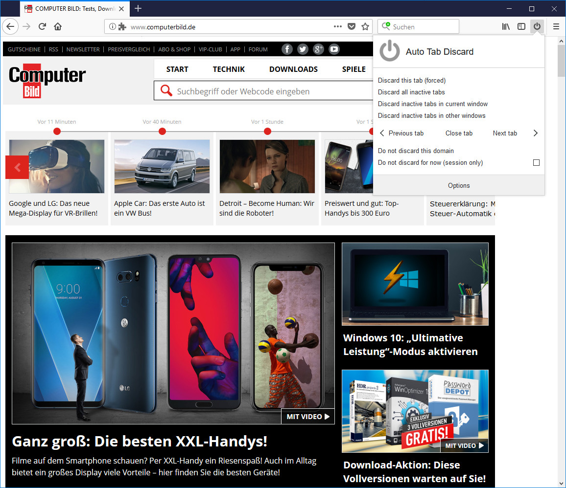 Screenshot 1 - Auto Tab Discard für Firefox