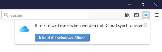 Screenshot 1 - iCloud-Lesezeichen für Firefox
