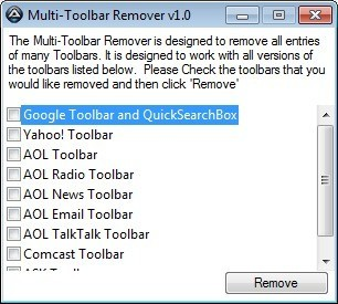Screenshot 1 - Multi-Toolbar Remover