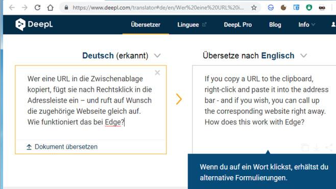 DeepL Online-Übersetzer: Übersetzen mit künstlicher Intelligenz ©COMPUTER BILD