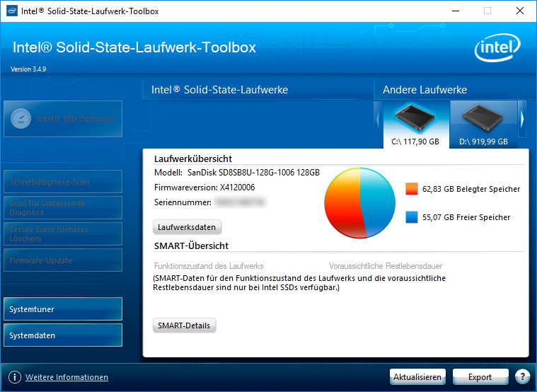Screenshot 1 - Intel SSD Toolbox