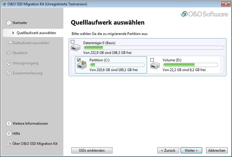 Screenshot 1 - O&O SSD Migration Kit