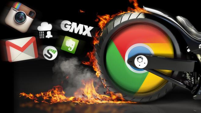 Tuning-Tricks für den Google-Browser ©Google, COMPUTER BILD,Evernote, GMX, streamus, rain-alarm, storm - Fotolia.com, instagram