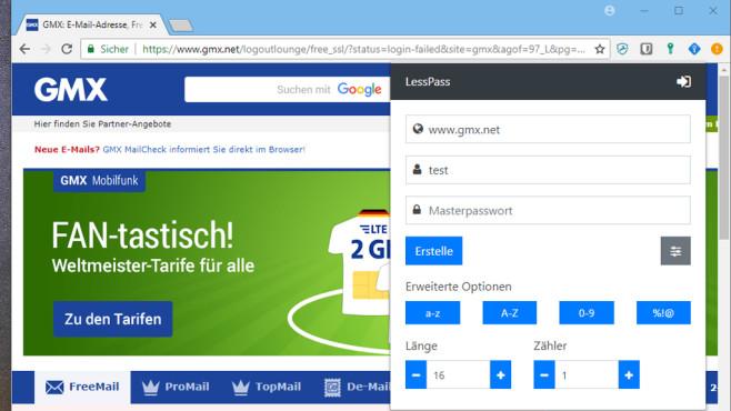 LessPass für Firefox und Chrome ©COMPUTER BILD