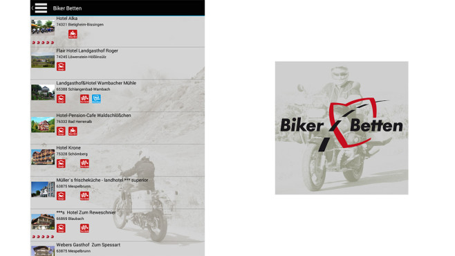 Biker Betten App ©TVV-Touristik-Verlag GmbH