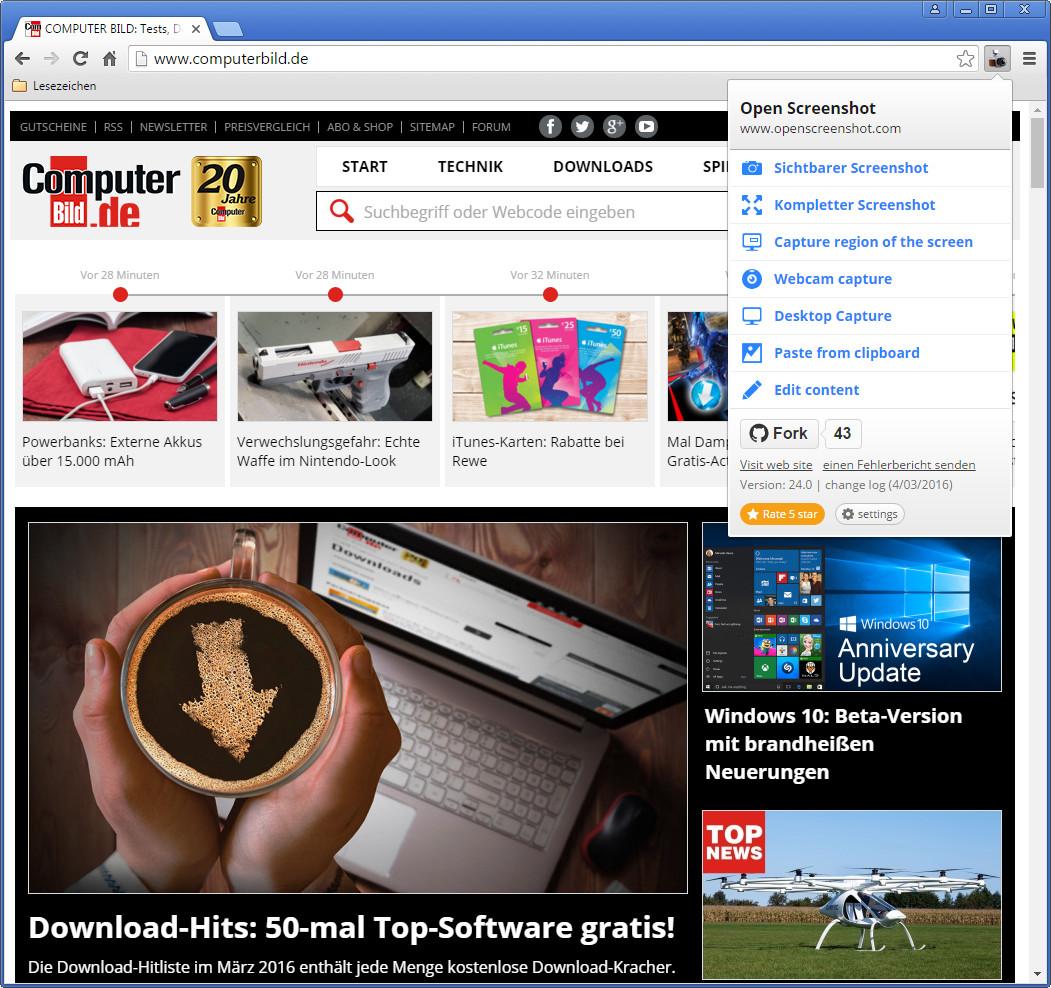 Screenshot 1 - Webseiten-Screenshot für Chrome (Webpage Screenshot)