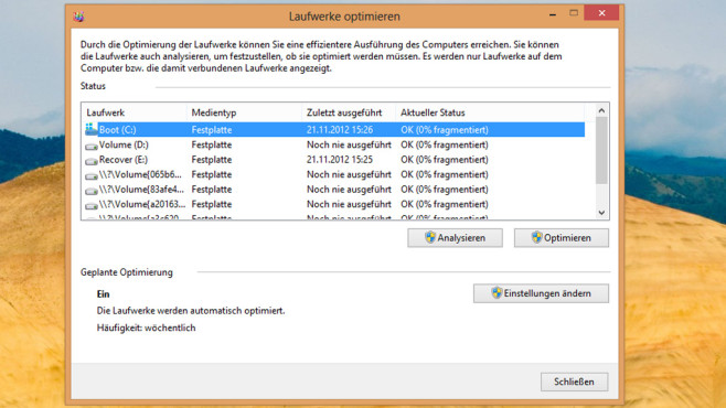 Windows 7/8: Effektiv arbeitende Defragmentierung ©COMPUTER BILD