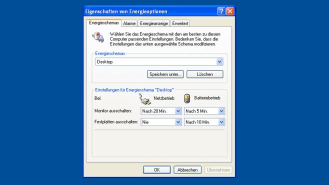 Windows XP: Wenige Einstelloptionen zum Energiesparen ©COMPUTER BILD