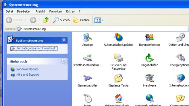 Windows XP: Wenige Systemsteuerung-Modi ©COMPUTER BILD