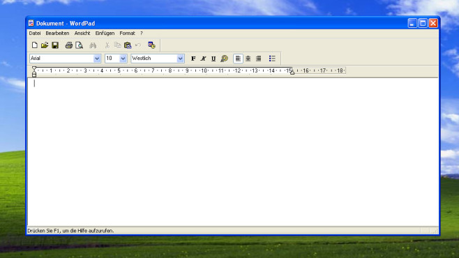 Windows XP: WordPad kaum besser als Editor © COMPUTER BILD