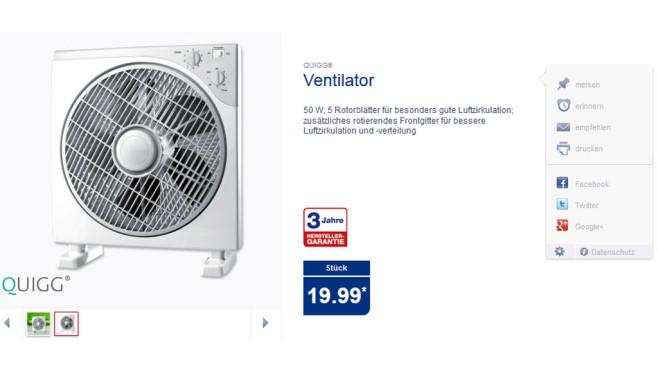 Ventilator von Quigg ©QUIGG, Aldi