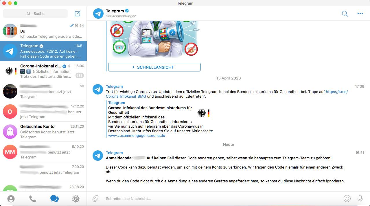 Screenshot 1 - Telegram (Mac)