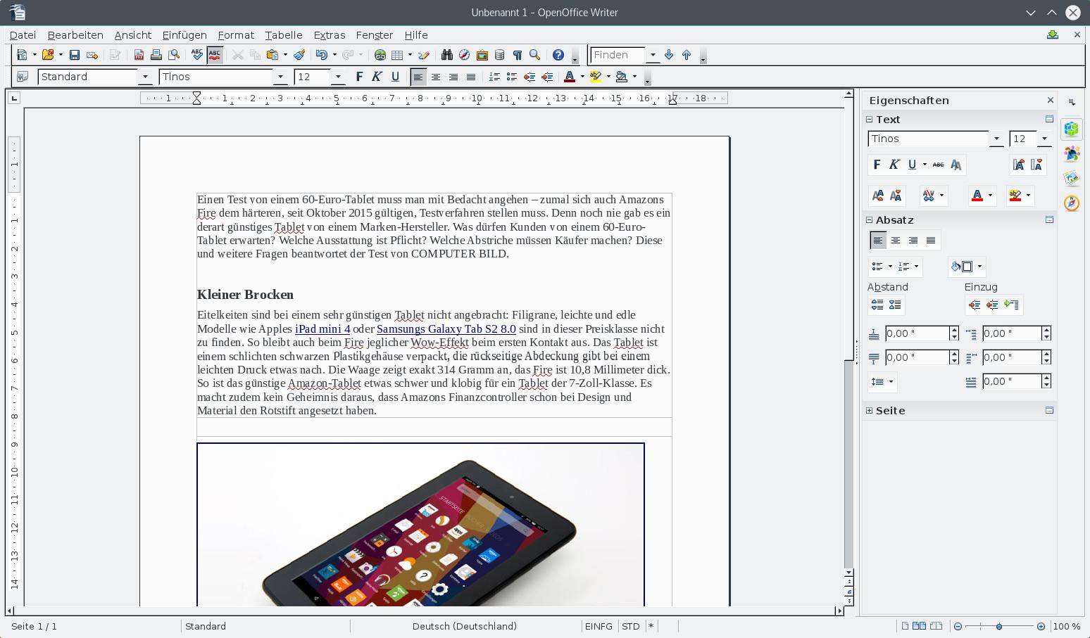 Screenshot 1 - OpenOffice (Linux)
