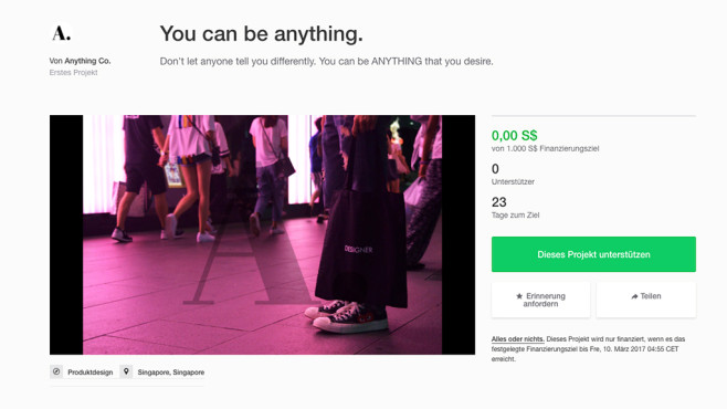 You can be anything © Kickstarter