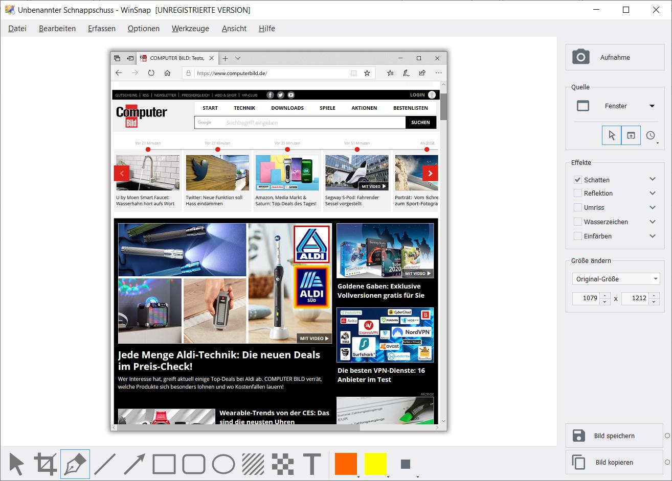 Screenshot 1 - WinSnap