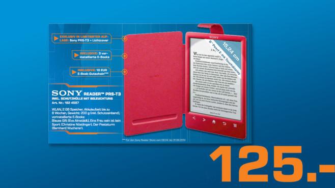 Sony Reader PRS-T3 mit Lichtcover ©Saturn