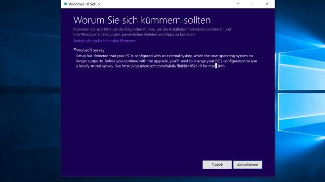Windows 7/8/10: Syskey versieht Benutzerkonto mit zweitem Passwort Es erscheint eine Fehlermeldung, wenn Sie im Begriff sind, Windows 10 1703 auf 1709 oder 21H1 zu aktualisieren. Es hilft jeweils, Syskey aufzurufen und zu deaktivieren.©COMPUTER BILD