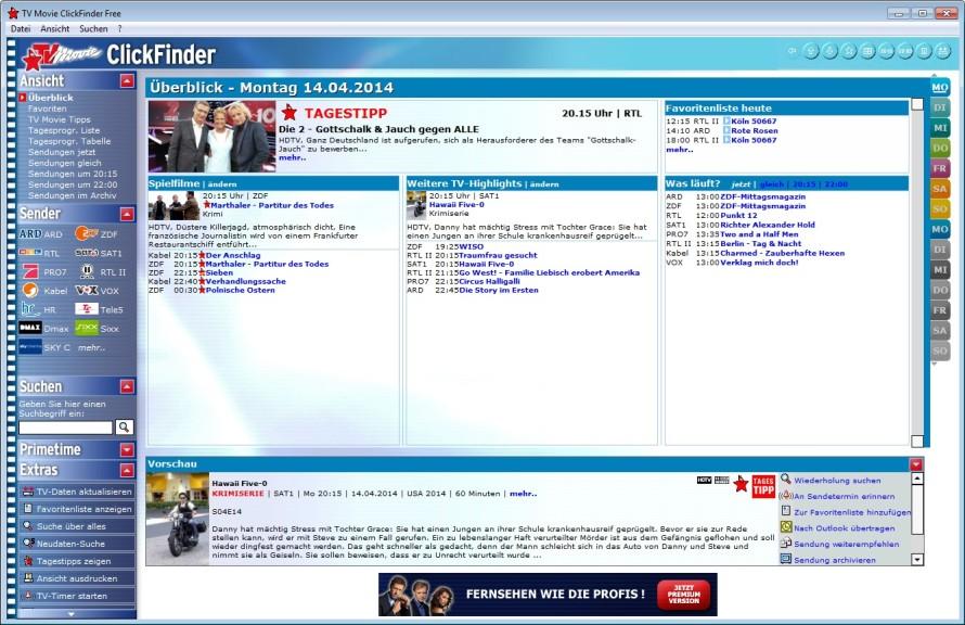 Screenshot 1 - TV Movie ClickFinder