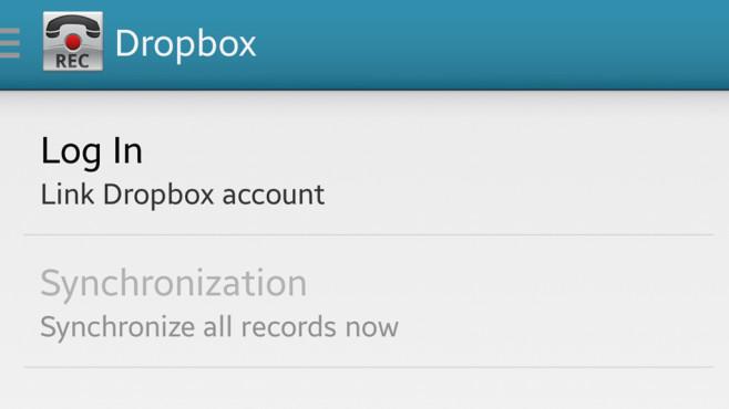Call Recorder: Dropbox (nur Pro-Version) ©Clever Mobile