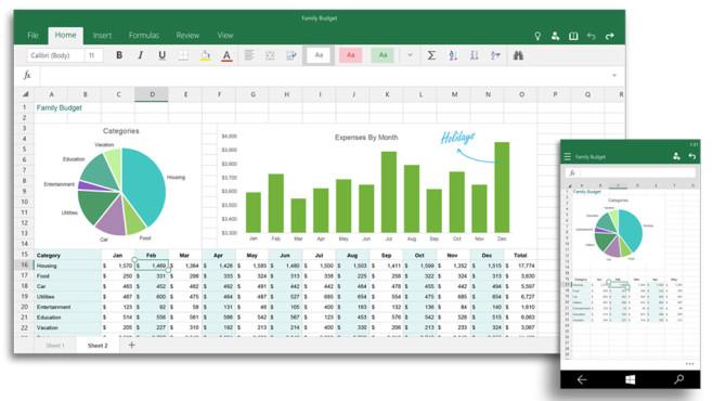 Excel für Windows 10©Microsoft