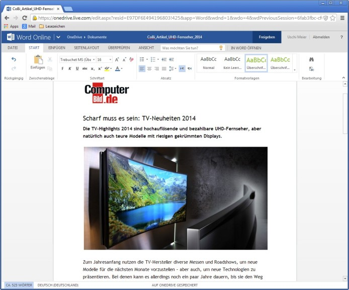 Screenshot 1 - Microsoft Word Online