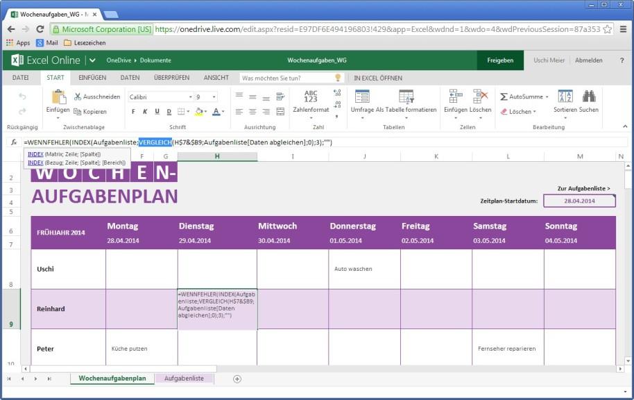 Screenshot 1 - Microsoft Excel Online