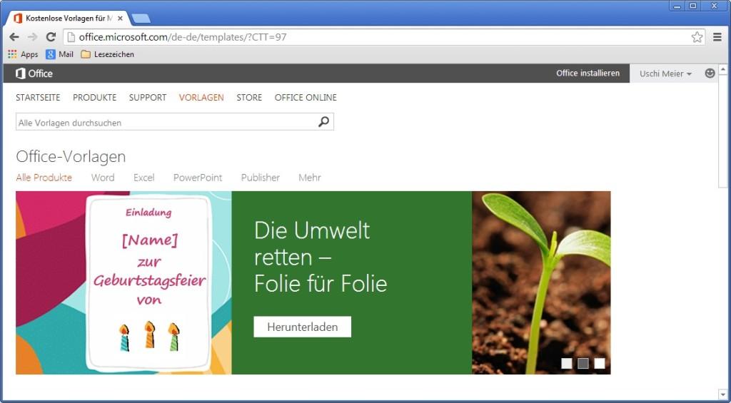Screenshot 1 - Kostenlose Vorlagen für Microsoft Office