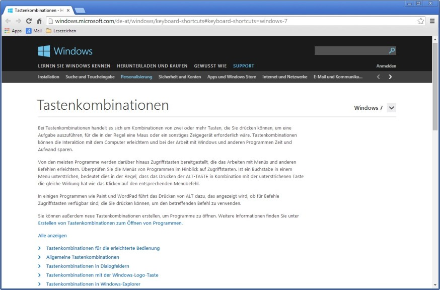 Screenshot 1 - Tastenkombinationen für Windows