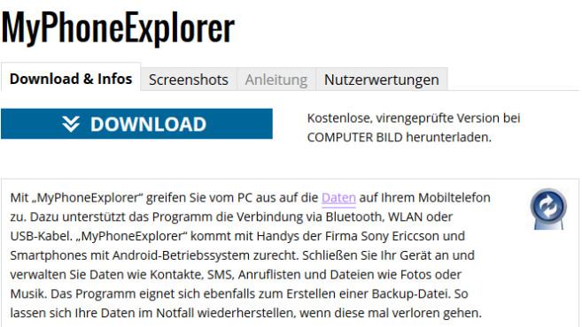 Schritt 1: MyPhoneExplorer auf PC herunterladen©COMPUTER BILD