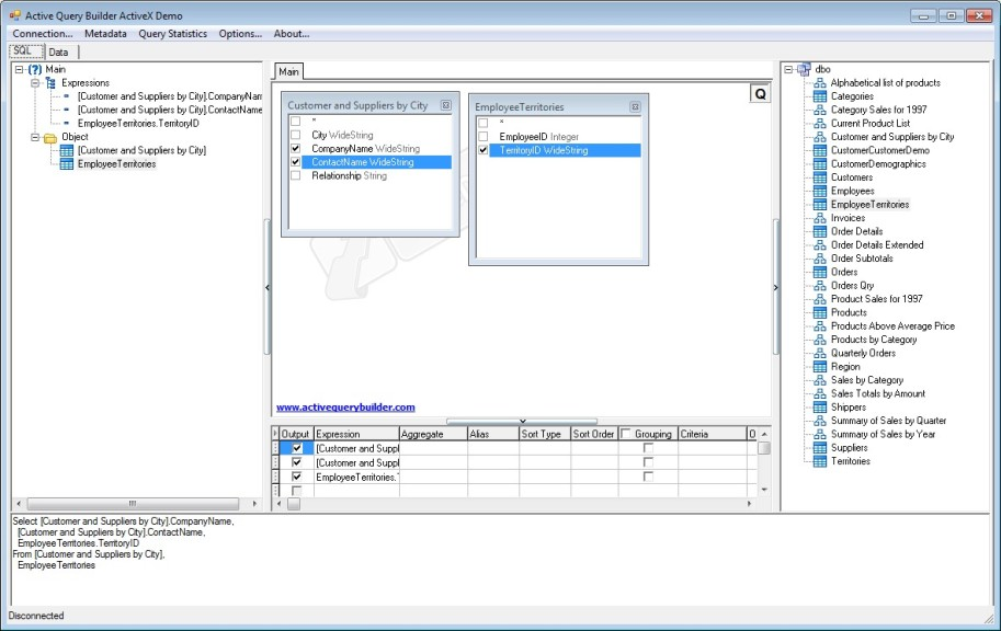 Screenshot 1 - Active Query Builder ActiveX Edition
