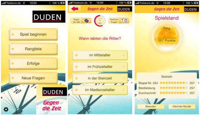 """Duden-Quiz """"Gegen die Zeit"""" ©it2media GmbH & Co. KG"""