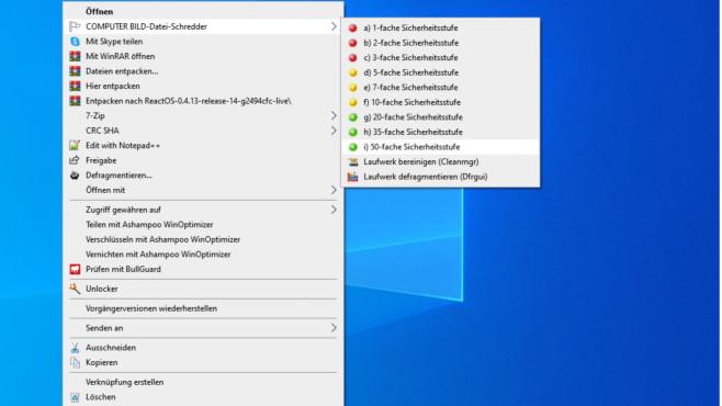 Dateien löschen unter Windows 7, 8.1, 10: Die besten Tipps und Programme Der COMPUTER BILD-Datei-Schredder löscht Ihre Dateien mit wählbarer Gründlichkeit.©COMPUTER BILD