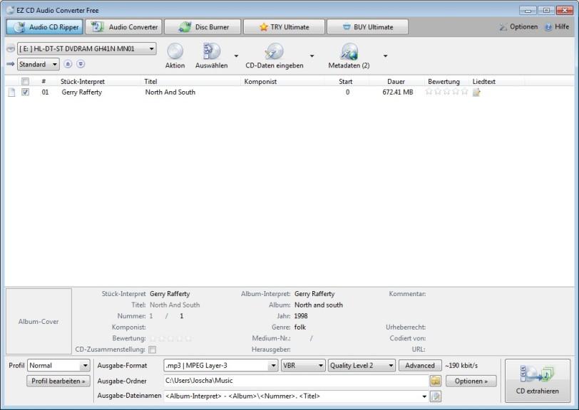 Screenshot 1 - EZ CD Audio Converter Free