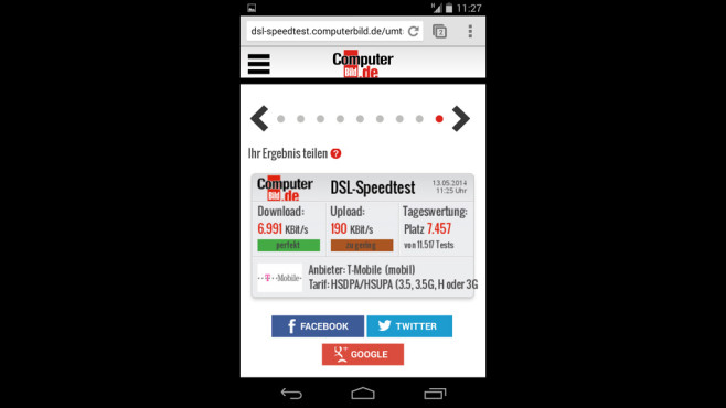 Speedtest für Mobilfunkverbindungen ©COMPUTER BILD