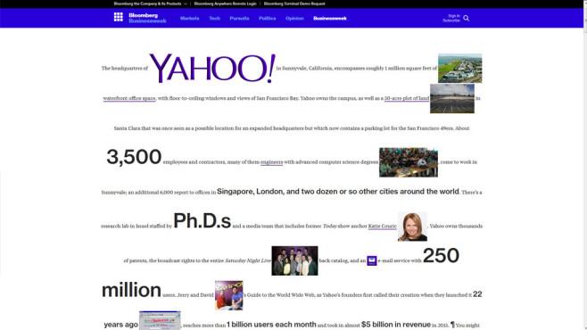 """Digitale Zeitreise: So sahen Top-Webseiten früher aus – Google, MSN, Yahoo & Co. Visuell das Gegenteil von der Hauptseite ist eine Unterseite des Nachrichten-Webportals Bloomberg.  widmet sich Yahoo und zeigt die Chefin Marissa Mayer. Die Gestaltung passt zu den abgrundtief schwächelnden Geschäftszahlen. Wer scrollt, erblickt riesige """"Zu Verkaufen-Zettel"""" in gelber Farbe. Die Textmenge erschlägt einen.©http://www.bloomberg.com/features/2016-yahoo/"""