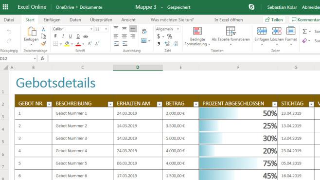 Microsoft Excel Online: Originale Tabellenkalkulation im Browser ©COMPUTER BILD