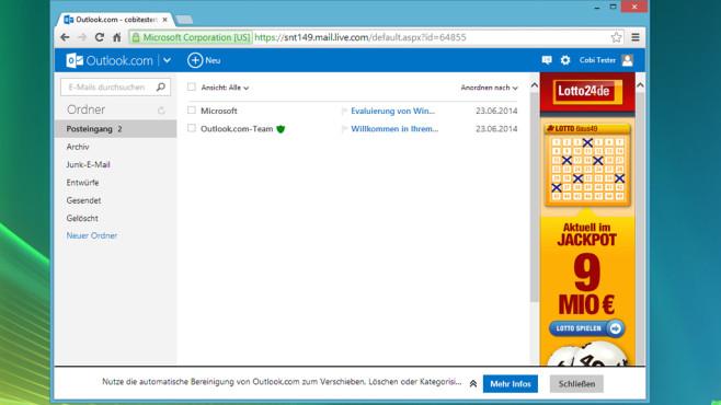 Outlook.com: Komfortabler Maildienst von Microsoft ©COMPUTER BILD