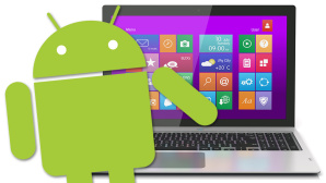 Android vor Windows-Notebook © Copyright: Google, You can more – Fotolia.com