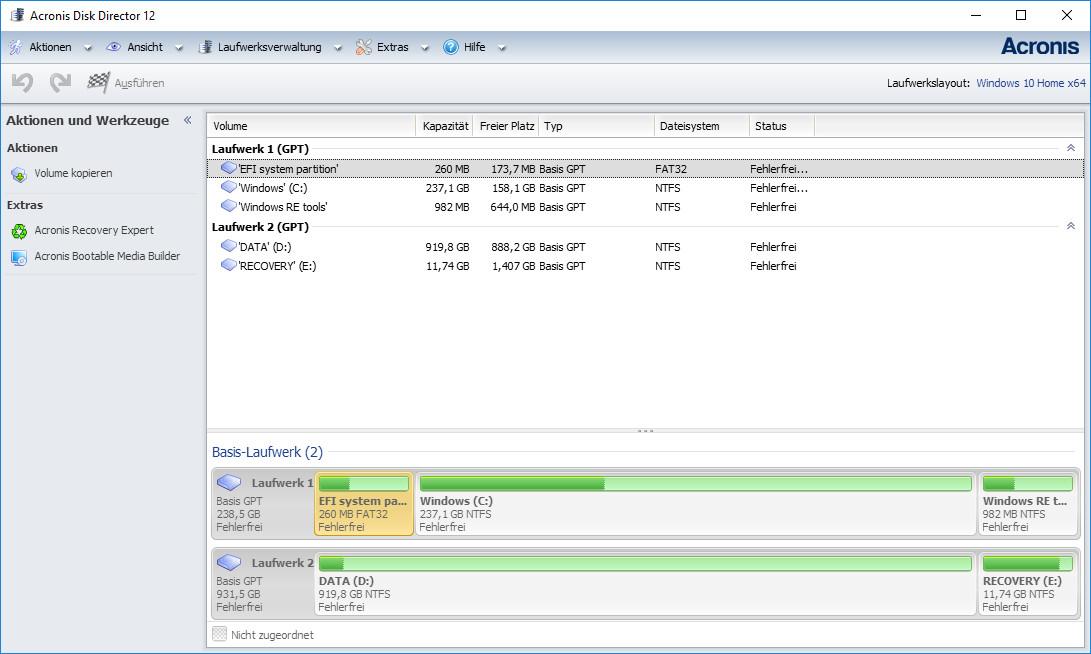 Screenshot 1 - Acronis Disk Director Home