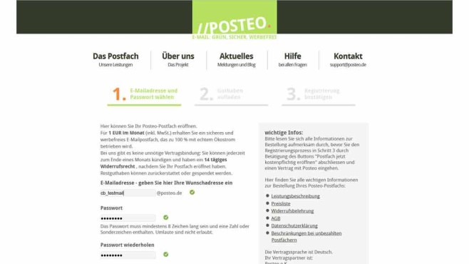 Posteo-Registrierung © Screenshot Posteo