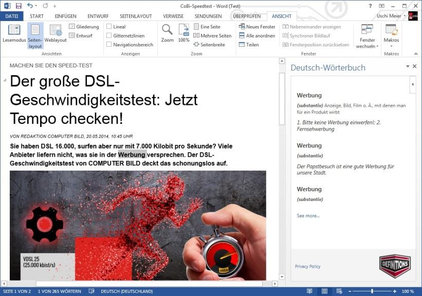 Screenshot 1 - Deutsch-Wörterbuch Office-Erweiterung