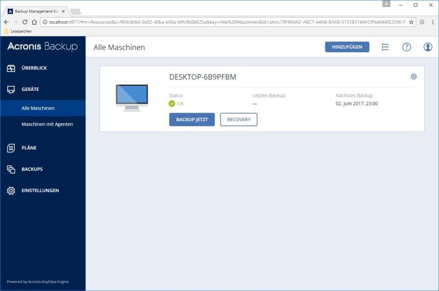 Screenshot 1 - Acronis Backup für Windows Server