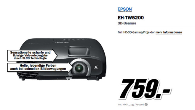 Epson EH-TW5200 ©Media Markt