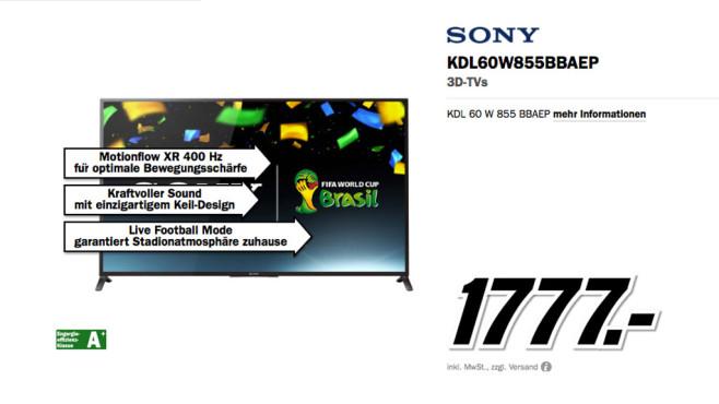 Sony KDL-60W855B ©Media Markt