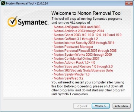 Norton Removal Tool ©COMPUTER BILD