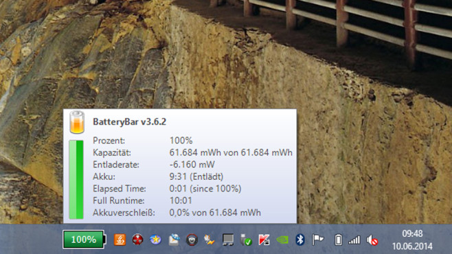 Alternative: BatteryBar Free ©COMPUTER BILD