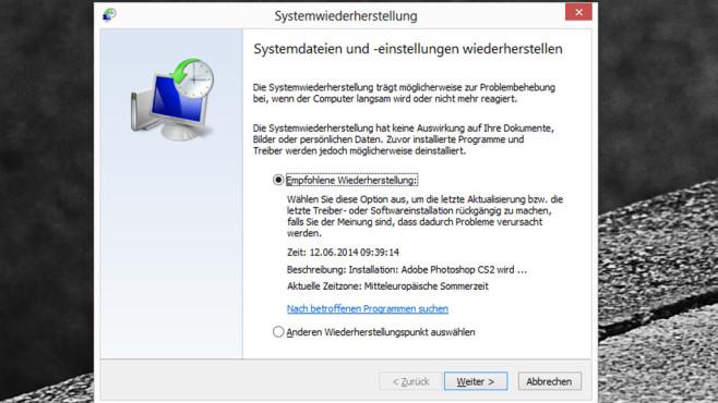 Systemwiederherstellung ©COMPUTER BILD