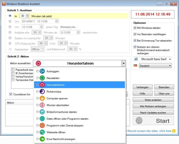 Screenshot 1 - Windows Shutdown Assistant