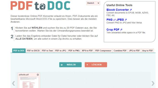 PDF to DOC (PDF in Word umwandeln) ©COMPUTER BILD