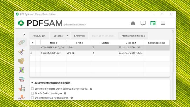 PDFsam (PDF Split and Merge): Dokumente zusammenfügen ©COMPUTER BILD